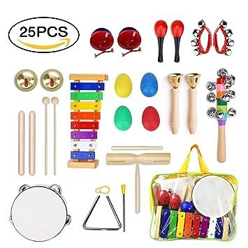 ULIFEME Instrumentos Musicales para Infantil, 25pcs Juguetes Músicales de Percusion para Bebes, Xilófono Madera