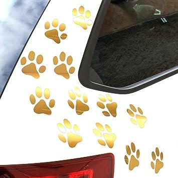Finest Folia 12er Set Hundepfoten Je 6x6 Cm Pfoten Pfötchen Hund Katze Aufkleber Sticker Für Auto Motorrad Wand Laptop Möbel K015 Gold Auto