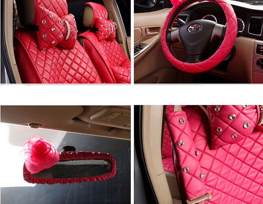18pc superior quality luxury red Seat Covers imitation leather Seating Universal Full Set car seat cover Easy to install Fit Most Car by Maimai88 (Image #4)