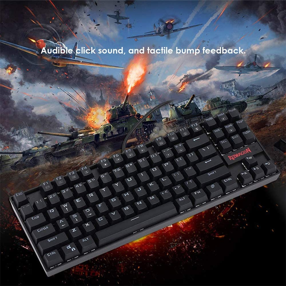 Lee Lam Backlit Keyboard Ergonomic Keyboard Small Compact 87 Key Metal Mechanical Computer Keyboard USB Wired Equivalent Switches for Windows PC Gamers