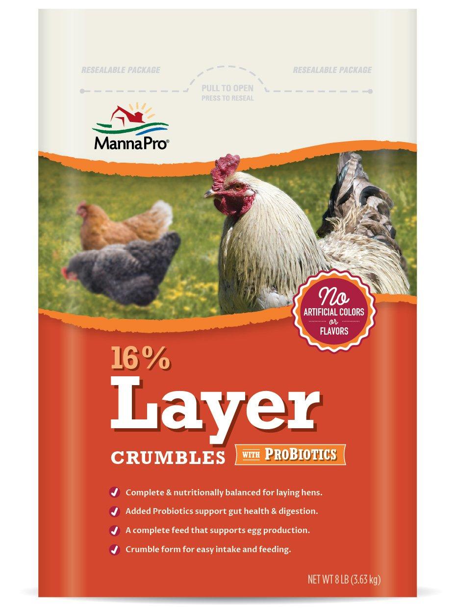 Manna Pro 16-Percent Layer Crumbles with Probiotics, 8 lb