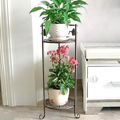LRW Simple Iron Art Flower Rack Multi-Layer Floor Flower Pot Rack Balcony Plant Rack Indoor Living Room Flower Stand: Garden & Outdoor