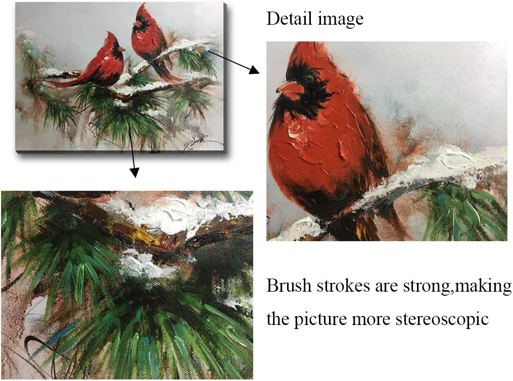 Hongwu-Hand Painted Bird Wall Art Painting Cardinals on Snow Pine Picture Stretched and Framed Ready to Hang for Wall Decor 20x28inch