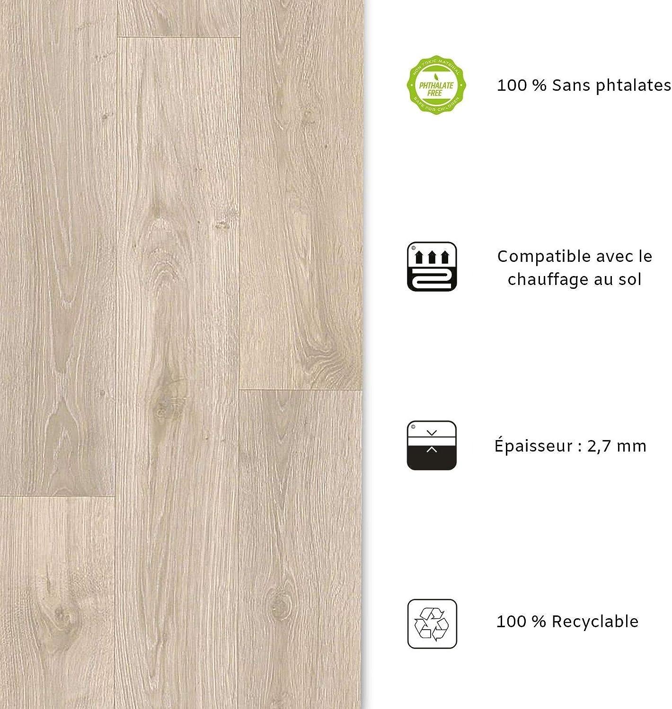 Film Vinyle Pour Meuble /& Sol Sol PVC Rouleau Antid/érapant /& 100/% /Écologique Stickers Effet Bois Aspect H/être - 100x200 cm casa pura Rev/êtement Sol PVC