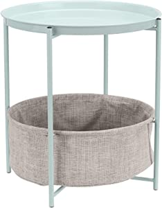 AmazonBasics Round Storage End Table - Mint Green with Heather Grey Fabric