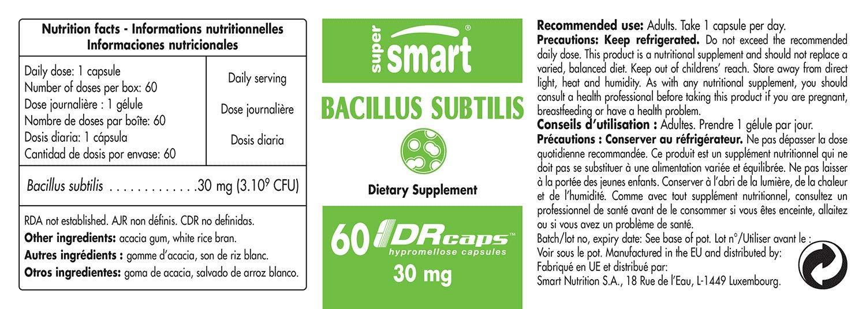 Bacillus subtilis 30 mg – 60 DRCAPS – Probiotiques y prébiotiques