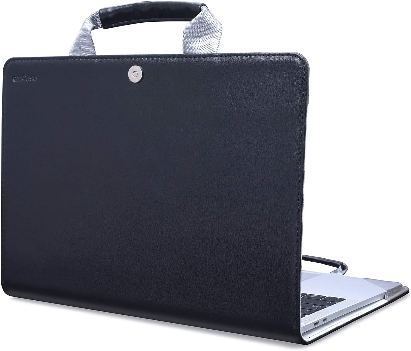 amCase Case Compatible with MacBook Pro 13 inch 2020 2019 2018 2017 2016 Release Models A2338 M1 A2289 A2251 A2159 A1989 A1706 A1708,PU Leather Shell with Handle,Black