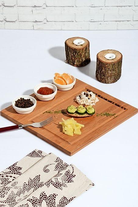 Juego de mesa de presentación de alimentos 100% bambú natural y porcelana salsa plato parted