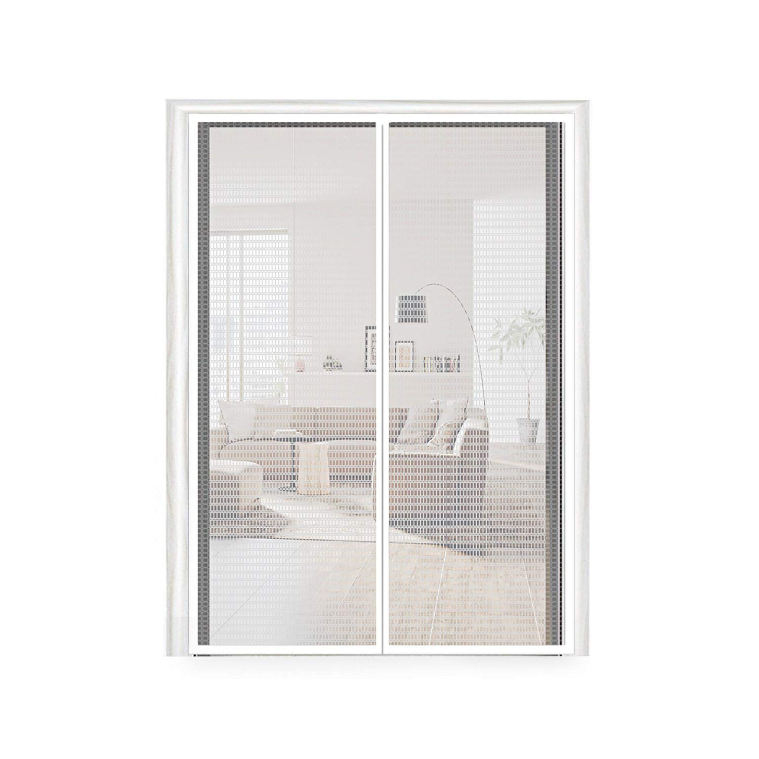 Magnetic Screen Door 72X80, Thermal and Insulation EVA Door Screen 72 X 80 Fit Doors Frame Size Up to 70W X 79''H Max with Full Frame Hook & Loop Magnet French Door Curtain(72x80 Inch, Transparent) by MAGZO