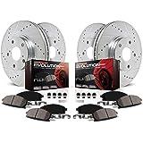 Power Stop K5858 Front & Rear Brake Kit with Drilled/Slotted Brake Rotors and Z23 Evolution Ceramic Brake Pads