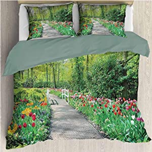 Garden Pattern Bedding Set Quenn, Printed Modern Comforter Cover-3 Pieces, Tulips on a Path Colorful All Season Quilt Set for Any Bed Room Or Guest Room