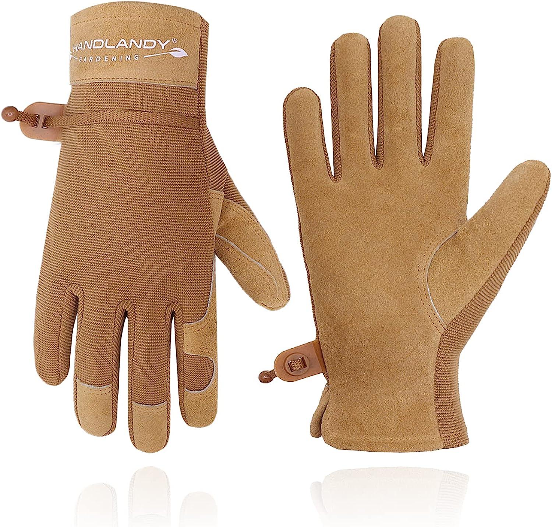 HANDLANDY Gardening Gloves for Women Flexible & Durable, Breathable Utility Work Gloves Heavy Duty Leather Garden Yard Glove