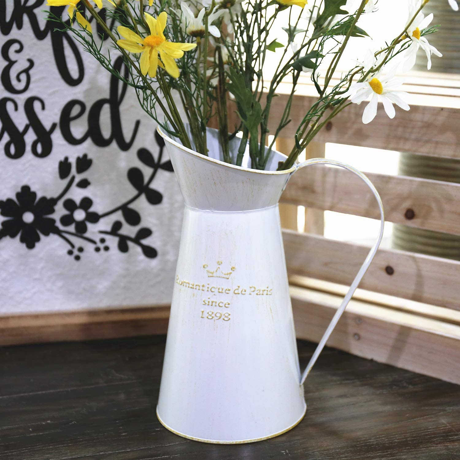 New French Country Chic Enamel Vintage Style WHITE MILK CAN Vase Pot Bucket
