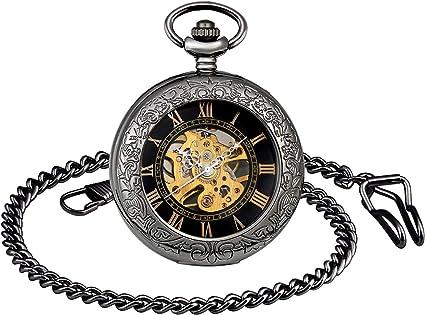 Todo para el streamer: Infinito U- Retro Reloj de Bolsillo para Hombres y Mujeres Lupa Engranaje Especial Punky Hueco Mecánico Deportivo Reloj de Bolsillo con Cadena