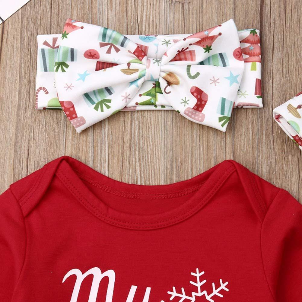 Miyanuby Barboteuse B/éb/é Fille My First Christmas Body en Coton Ensemble de V/êtements Pantalon avec Chapeau Bandeau