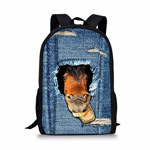FOR U DESIGNS Cool 3D Horse Backpacks for Boys Children Jean Book Bags c9cd217eebe77