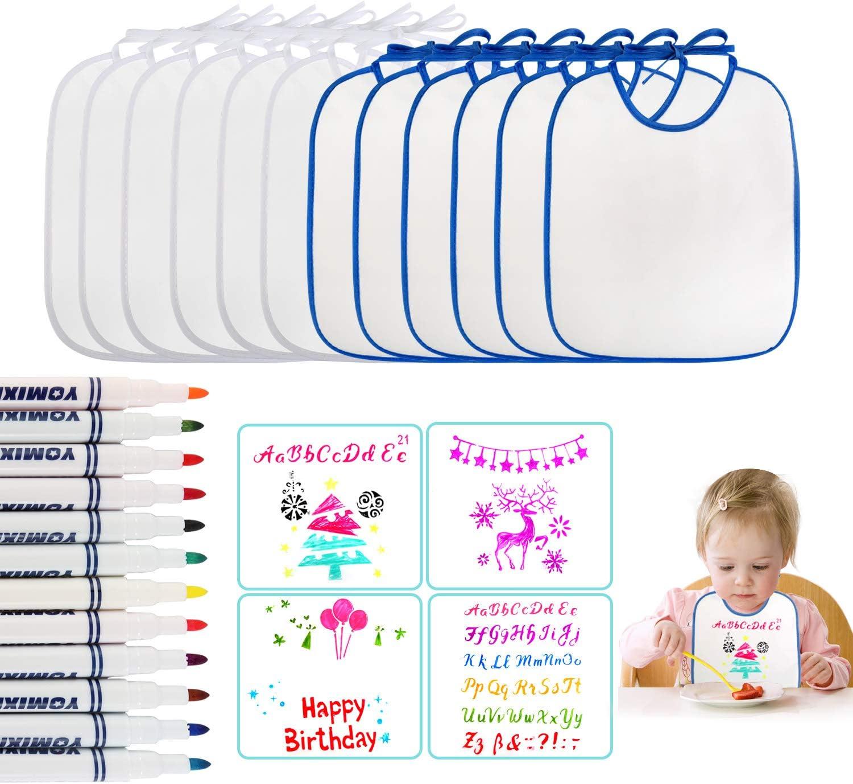 Impermeables Baberos Beb/é para DIY Pintar Baberos Recien Nacido Bebes con 12 Bol/ígrafos Textiles y 4 Plantilla de Pintura Super Suave Perfecto para Fiestas de Bautizo Ballery Baberos Beb/é Blanco