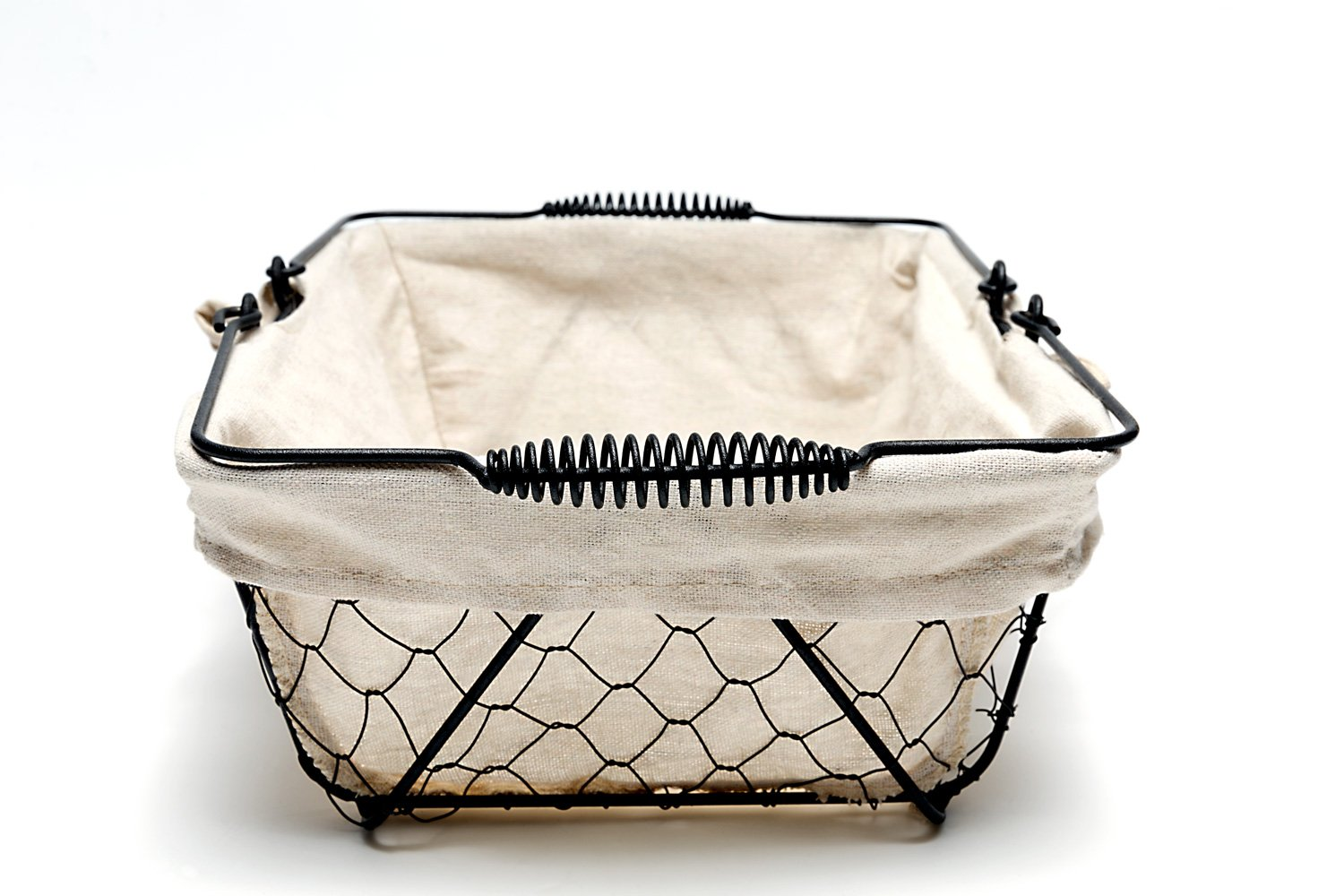 Mkono Vintage Bread Basket Black Wire Food Serving Basket with Removable Liner for Picnic Coffee Kitchen by Mkono (Image #3)