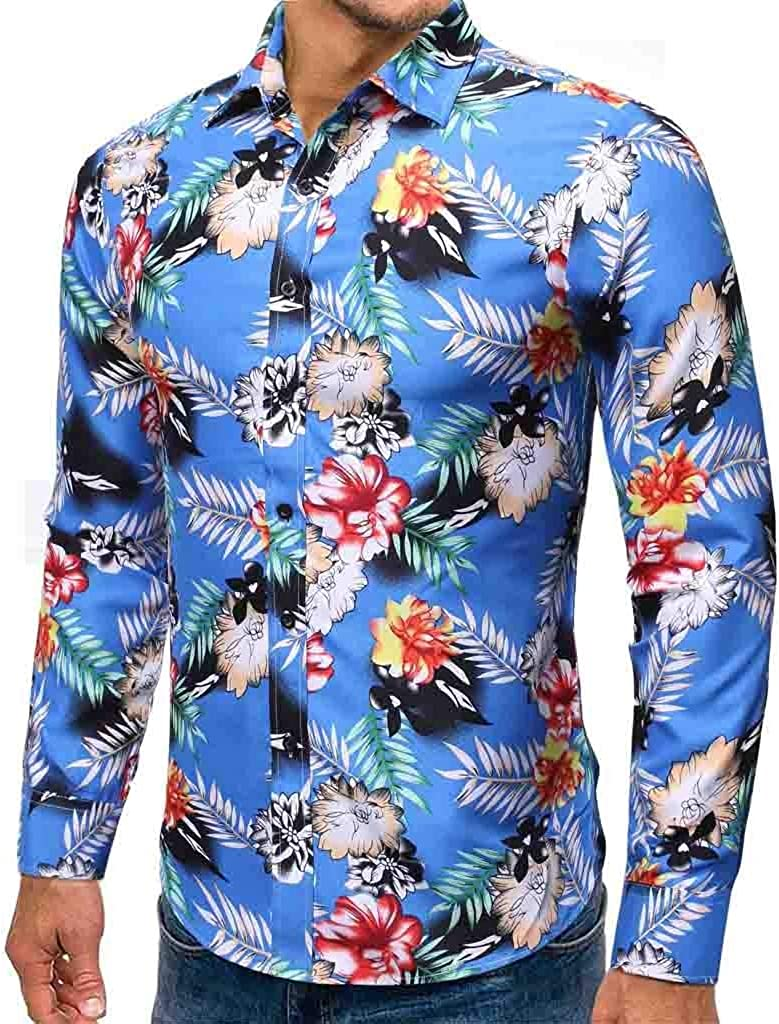 CAOQAO Camisa Hawaiana Hombre Flores Manga Larga Slim Fit Mezcla de Algodón: Amazon.es: Ropa y accesorios