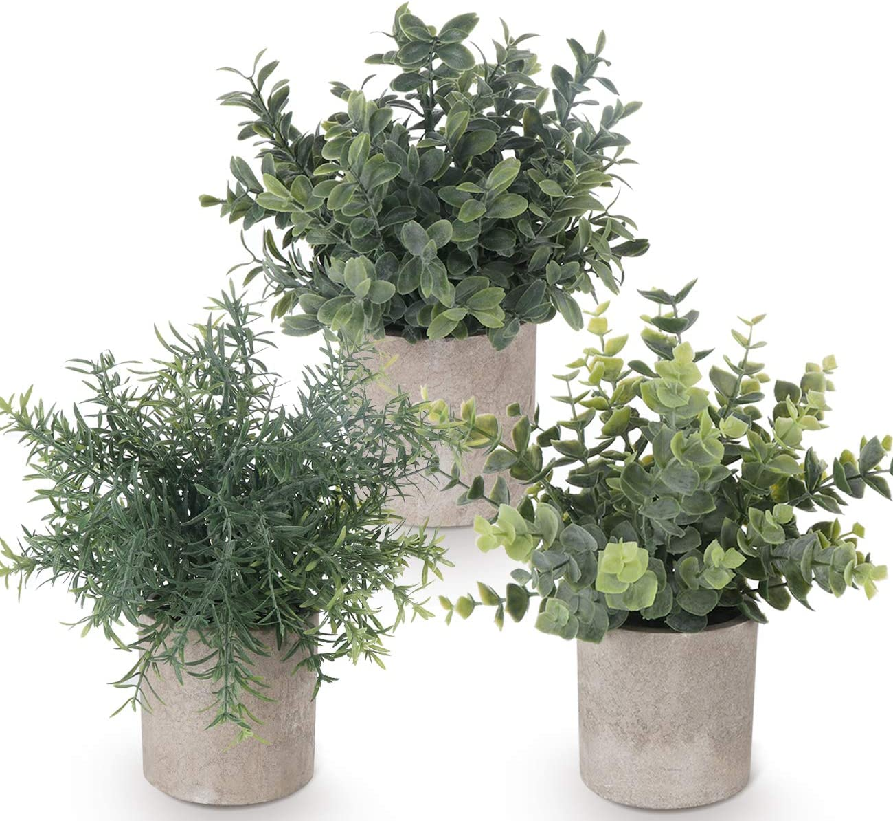 Lemonfilter Set of 3 Mini Potted Artificial Plants Plastic Eucalyptus Plants Faux Rosemary Plants for Home Garden Office Desk Shower Room Decoration
