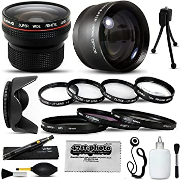 +1, +2, +4, 10x Macro + .20x Professional Fish Eye Lens More for JVC GR-HD1 Camcorder Video Camera + 4 Piece Close UP Kit Hood 15 Piece Macro Fisheye Telephoto Lens Filters Set includes 3 Piece Filter Kit UV + CPL + Warming 2.2x HD Telephoto