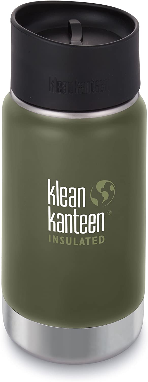 Klean Kanteen 12oz Wide Mouth Stainless Steel Coffee Mug with Klean Coat, Double Wall Vacuum Insulated with Leak Proof Café Cap 2.0 - Fresh Pine (NEW 2018)