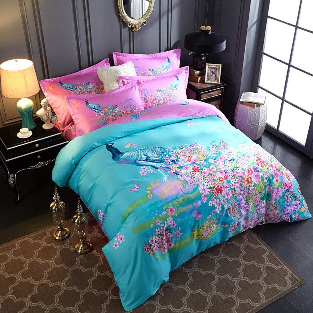 綿 4% 羽毛布団カバーセット,3 d の綿生地,刺繍,超低刺激性柔らかい絹のような高級印刷 1 掛け布団カバー, 1 ベッド シート, 2 枕カバー-B B07F656WJR Queen2|B B Queen2