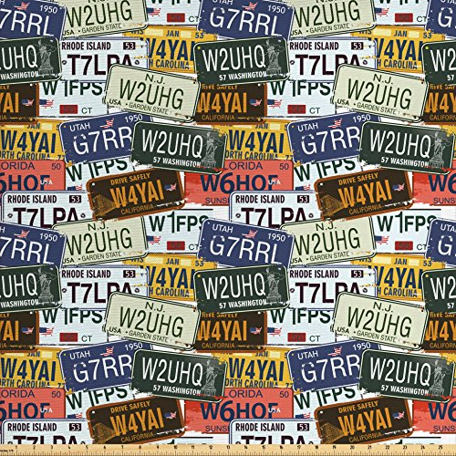 Rhode Island Linen - Ambesonne USA Fabric by the Yard, Retro American Auto License Plates Utah Washington Rhode Island North Carolina Print, Decorative Fabric for Upholstery and Home Accents, Multicolor
