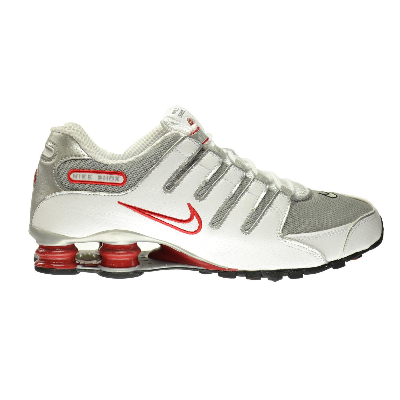 48a9b2d13bd NIKE Shox NZ Men s Shoes White Metallic Silver-Sport Red-Clay Grey  378341-104 (8.5 D(M) US)