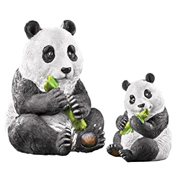 Mother And Baby Panda Garden Statue Set   2 Pc, White