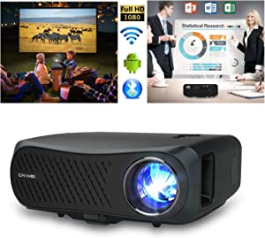 Native 1080p Projector with WiFi Bluetooth, 7000Lux Outdoor Movie Full HD Projector with 200