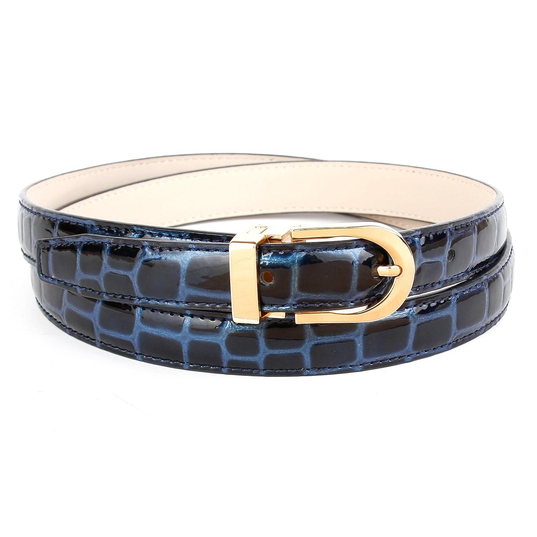 Anthoni Crown Leder Damengürtel Schmal 2 cm Blau