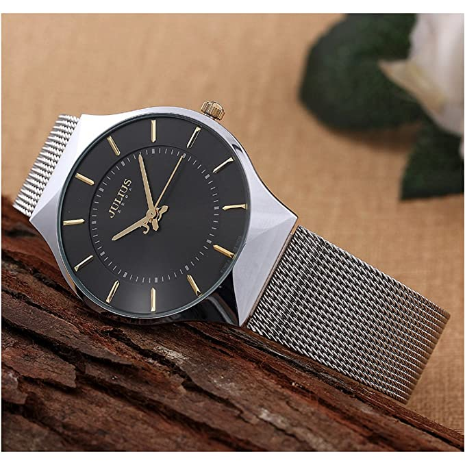 Amazon.com: JULIUS Mens Black Dial Mesh Stainless Ultra Thin Stylish Quartz Watch Fashion Elegant Wristwatch: Korea design: Watches