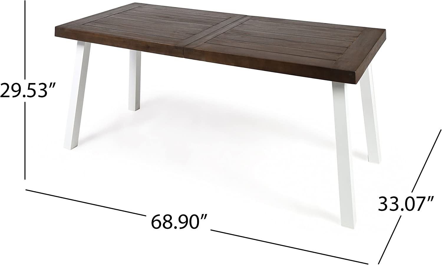 Christopher Knight Home Della Outdoor Acacia Wood Dining Table with Metal Legs, Dark Brown / White Rustic Metal : Garden & Outdoor