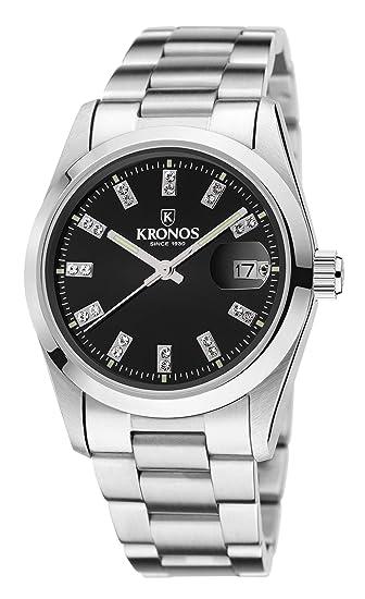 Kronos - Elegance Black Zirconia 968.8.52ZR - Reloj de señora de cuarzo, brazalete de acero, color esfera: negra: Amazon.es: Relojes