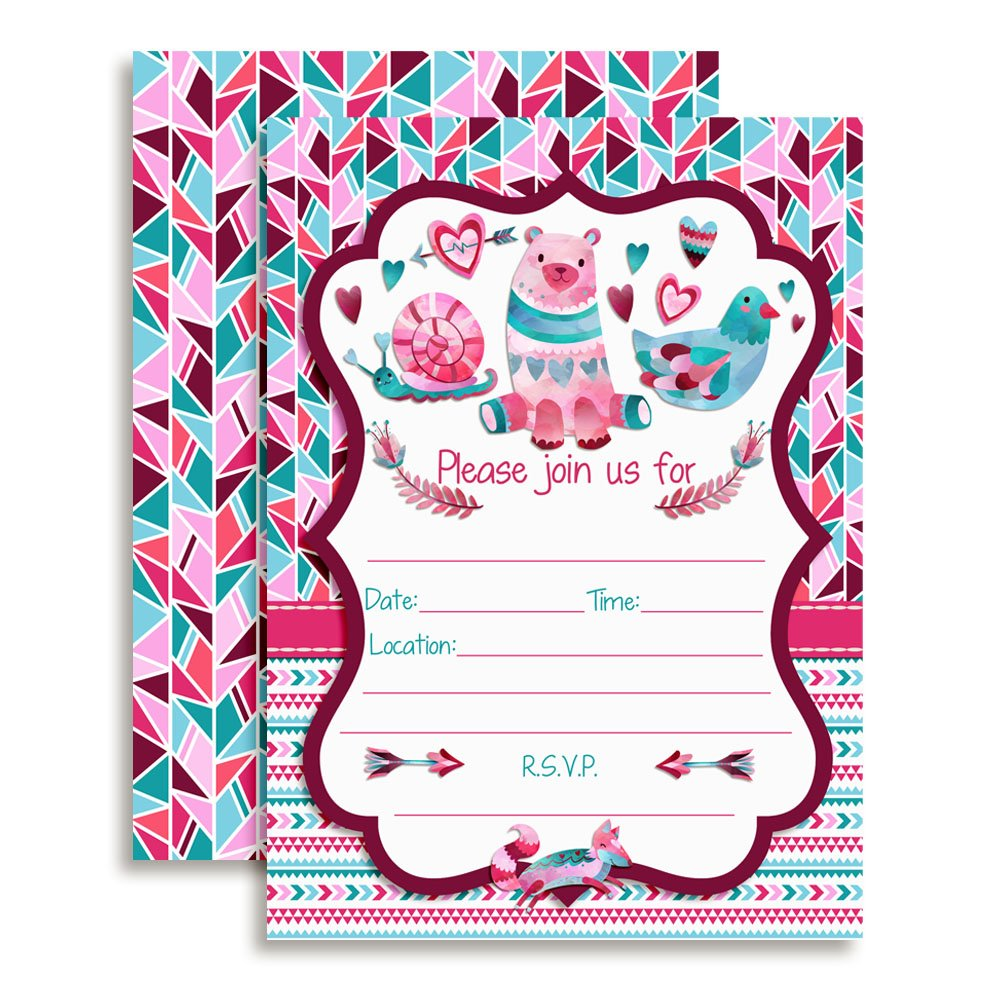 Amanda Creation Tribal Valentine Party Fill in Invitations Set of 20 with envelopes