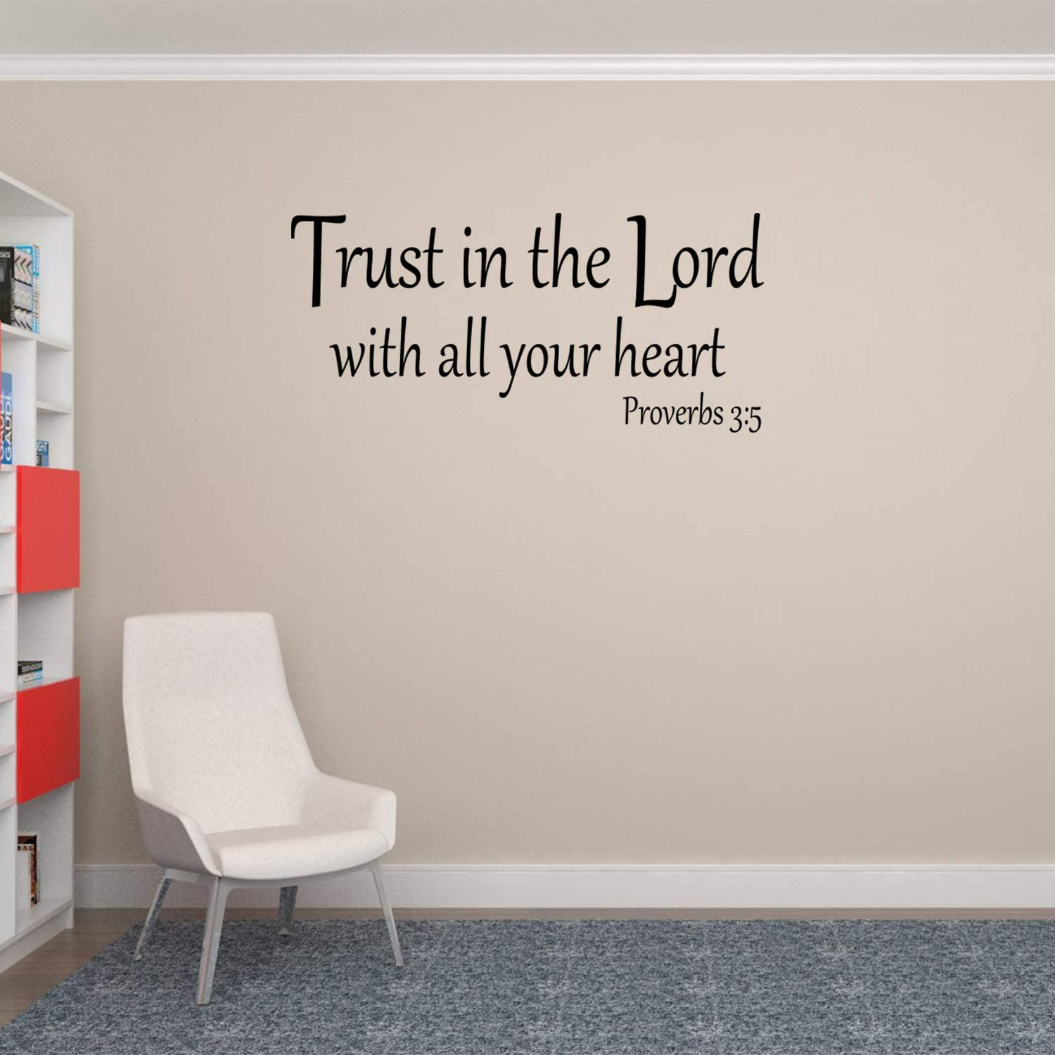 Empresal Wall Decal Quote Proverbs 3 5 Trust in The Lord with All Your Heart Wall Decal Bible Verse Sticker Decor