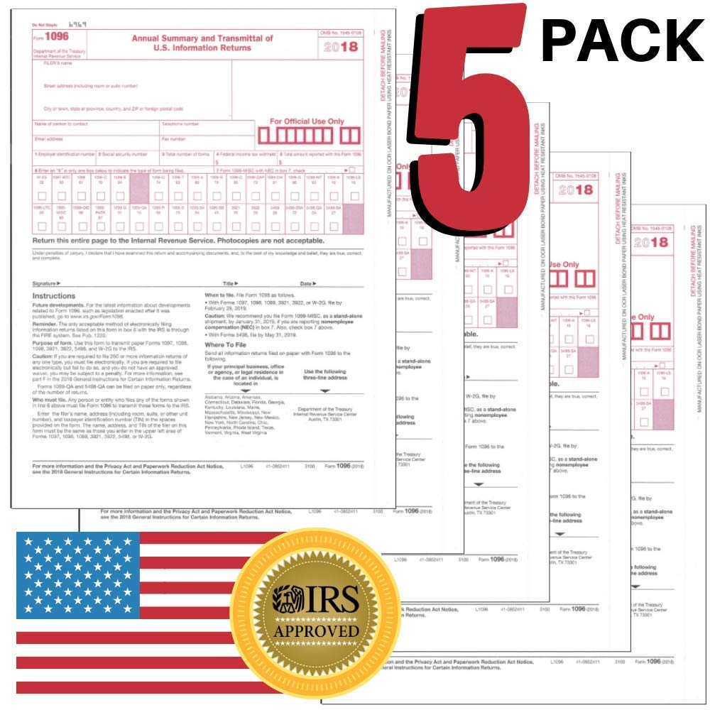 1096 Tax Form for 2018-5 Pack - 8.5''x11'' inches - IRS Approved Laser Transmittals