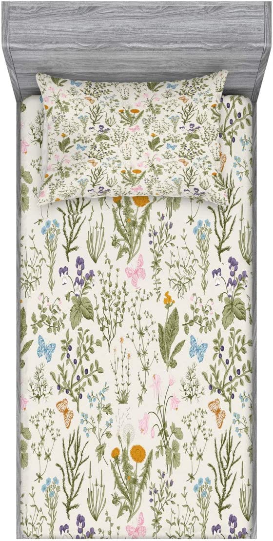 Ambesonne Floral Fitted Sheet & Pillow Sham Set, Vintage Garden Plants Herbs Flowers Botanical Classic Design, Decorative Printed 2 Piece Bedding Decor Set, Twin, Pink Blue