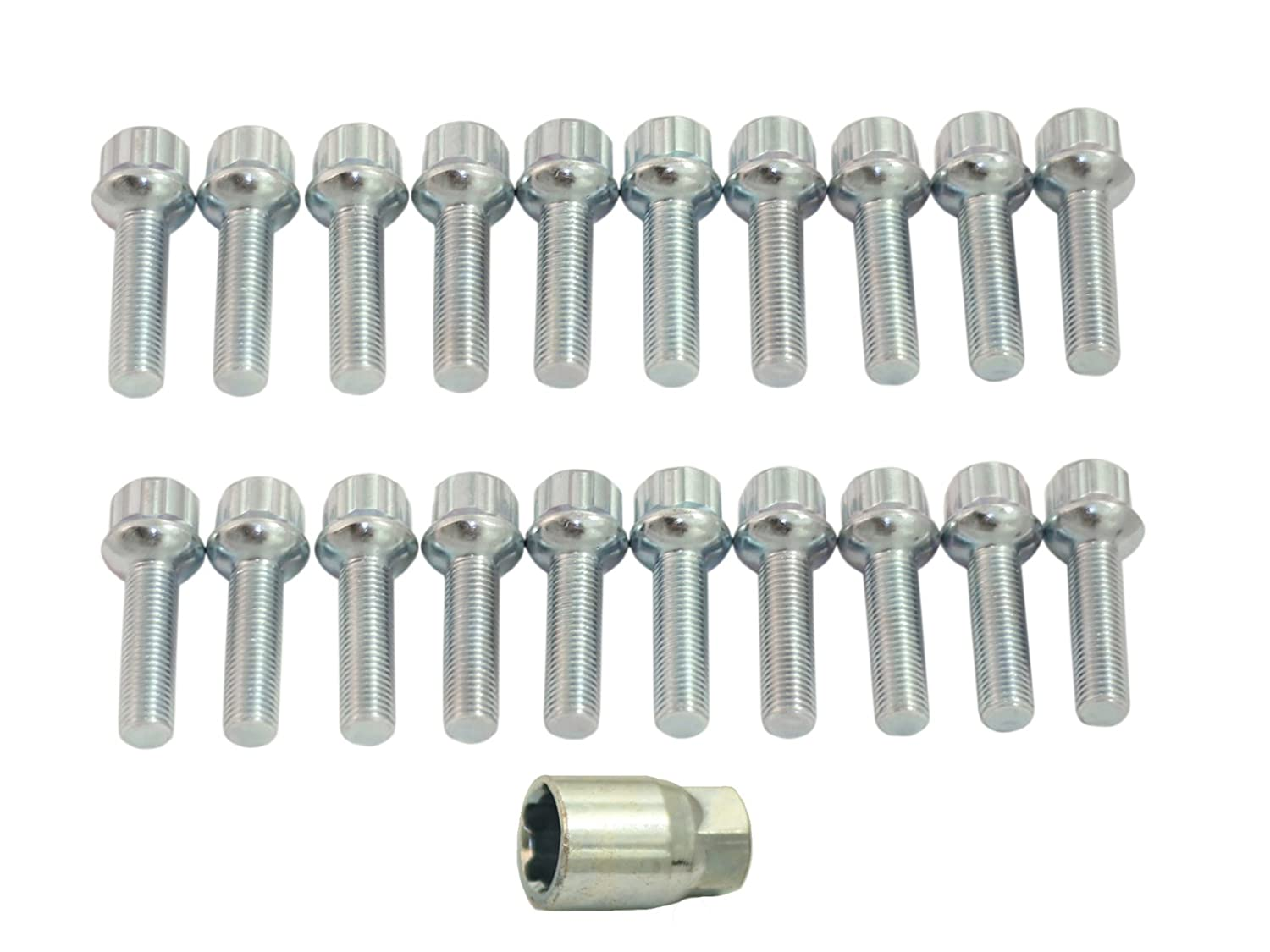 (20) Locking Silver Lug Bolts 12x1.5 (40mm Shank Length, Ball Seat) Includes Socket Key - Fits many Mercedes Benz (Check Description for exact years) - C230 C240 C280 C320 E320 E420 E430 AMG SLK CLK Precision European Motorwerks