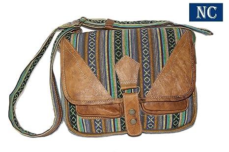 144ffb62b07a Amazon.com: Pure Cotton and Leather Shoulder Multi Pocket Bag ...