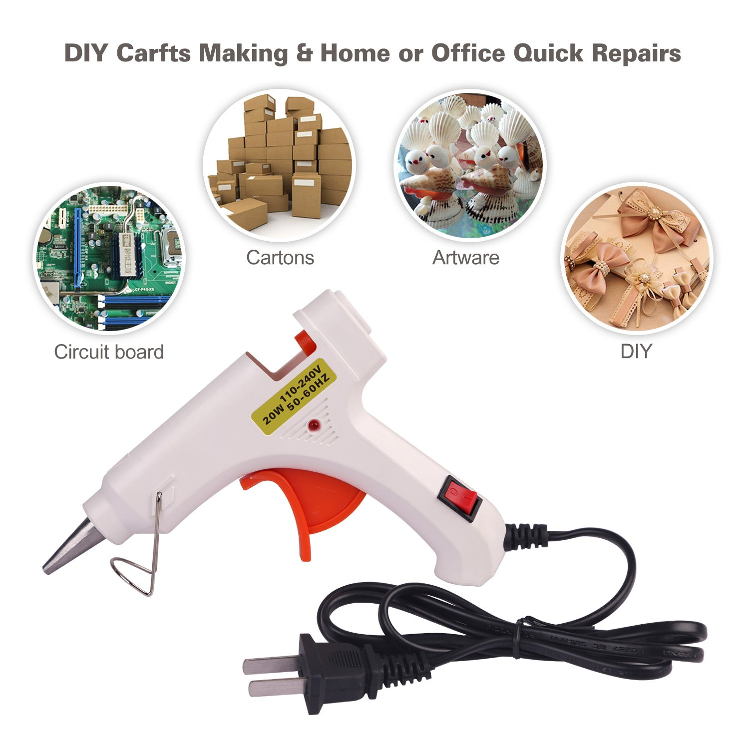 Hot Melt Glue gun with 30 pcs free glue sticks, High temperature melting glue gun with safety stand and built in fuse for over heat protection for small craft projects, home, office and quick repair by FLY5D (Image #2)