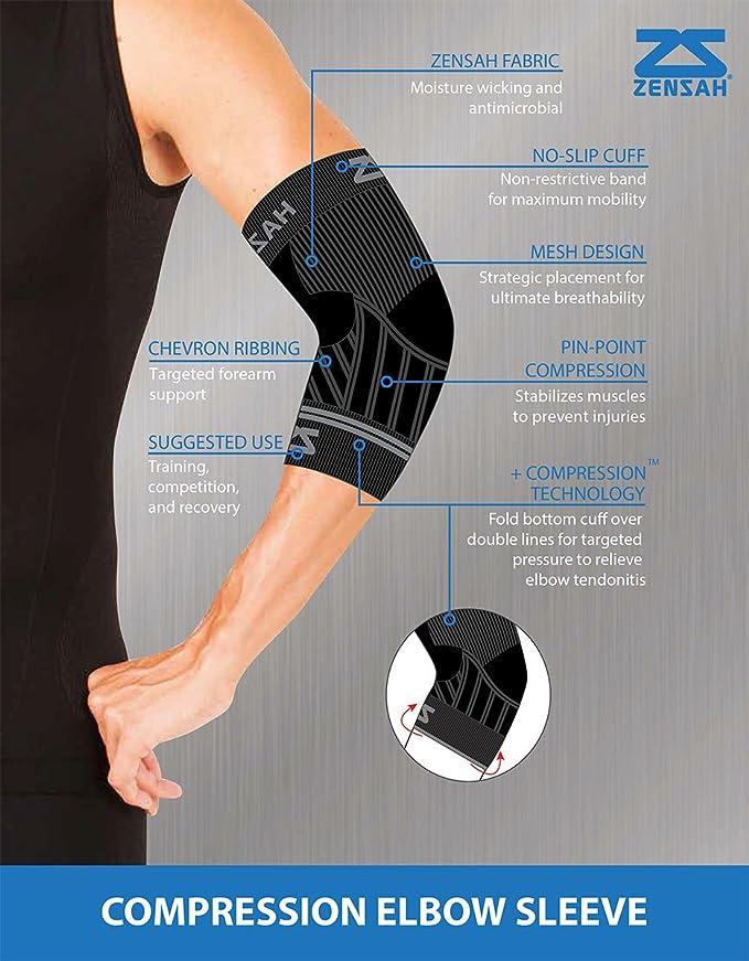 a8deda2e28 Zensah Compression Tennis Elbow Sleeve for Elbow Tendonitis, Tennis Elbow,  Golfer's Elbow - Elbow Support, Elbow Brace: Amazon.ca: Clothing &  Accessories