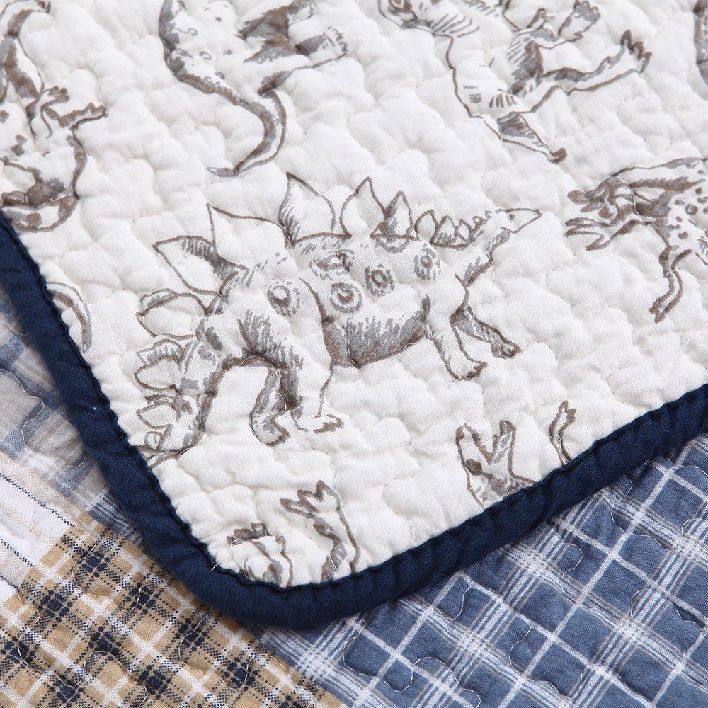 Cozy Line 100% Cotton Benjamin Plaid Quilt Sets Bedding Reversible Dinosaur Pattern 3-Pcs Bedspread Coverlet for Kids Boys, Full/Queen