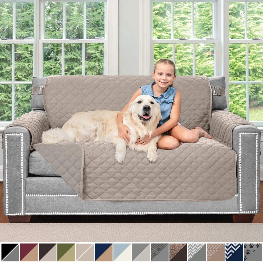 Sofa Shield Original Patent Pending Reversible Loveseat Slipcover, 2 Inch Strap Hook, Seat Width Up to 54 Inch Washable Furniture Protector, Couch Slip Cover for Pets, Love Seat, Lt Taupe Lt Taupe