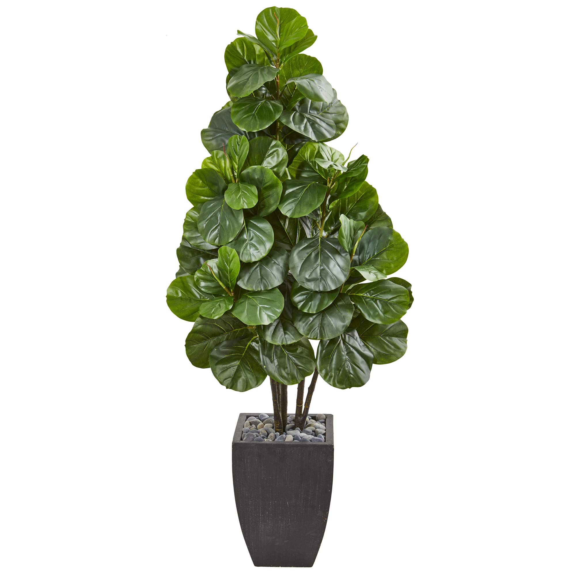 Nearly Natural 9384 63-in. Fiddle Leaf Fig Artificial Black Planter Silk Trees Green