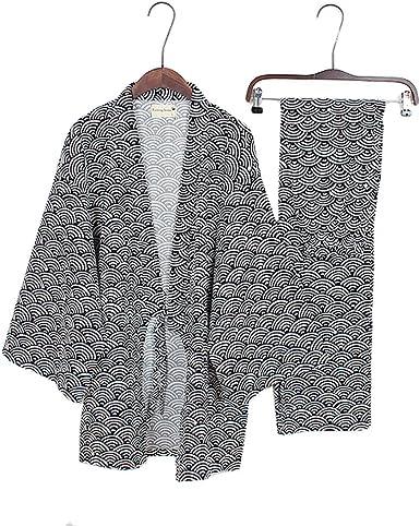 Trajes de Estilo japonés para Hombre Traje de Pijama de Puro Pijama de algodón Juego Set-# 04