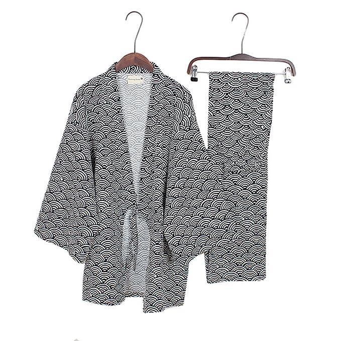 Trajes de estilo japonés para hombre Traje de pijama de puro pijama de algodón Juego Set