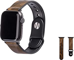 Compatible with Apple Watch Band 42mm 44mm Genuine Leather and Soft Rubber Combined Strap which Compatible with iWatch for All Models Camouflage Straps with Black Adapter