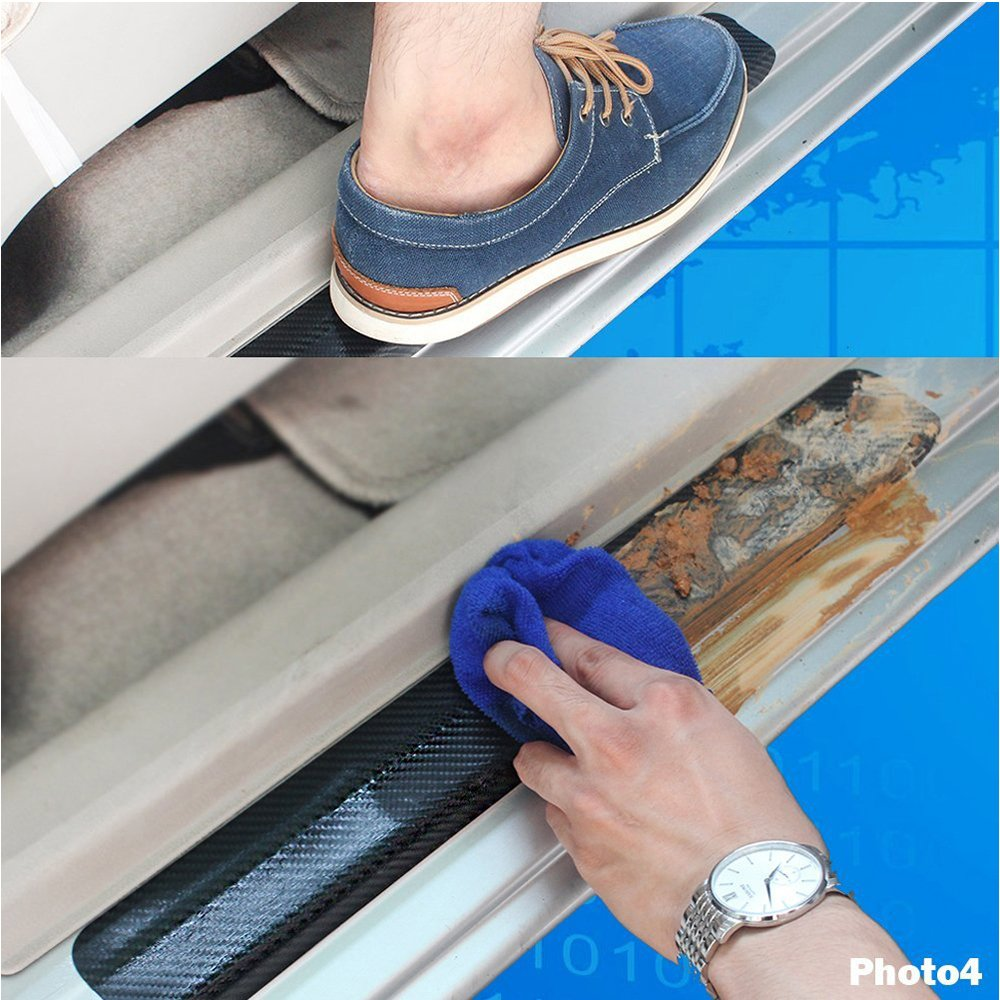 Door Sill Protector Strips 4 door Trim Cover Entry Guards Blue For Focus 2010-2018